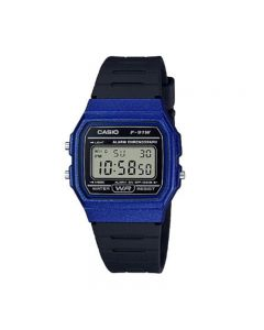 Casio F-91WM-2A Youth Digital Black Blue Resin Band Men Watch