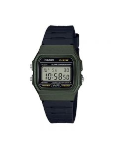 Casio F-91WM-3A Youth Digital Black Green Resin Band Men