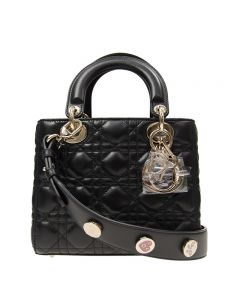 Christian Dior Lambskin Black with 3 Charms
